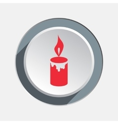 Candle with fire icon Christmas symbol Red sign vector image