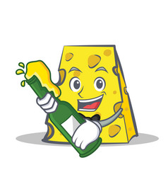 Cheese character cartoon style with beer vector
