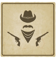 cowboy hat and gun old background vector image