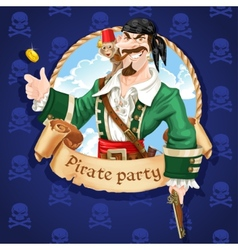Pirate with monkey throw up golden coin vector image vector image