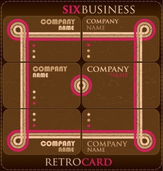 six business retro card vector image