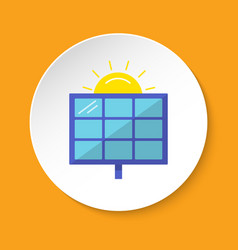 Solar panel icon in flat style on round button vector