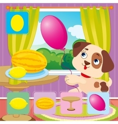 15 Dog Catches Pink Oval Ball vector image