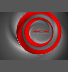 Abstract red and grey tech circles background vector