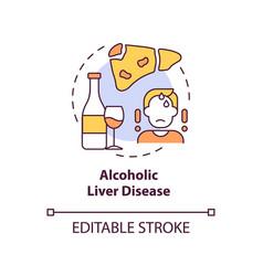 Alcoholic liver disease concept icon vector