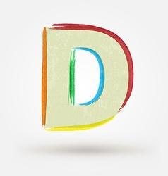 Alphabet letter D Watercolor paint design element vector