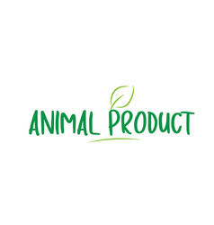 Animal product green word text with leaf icon vector