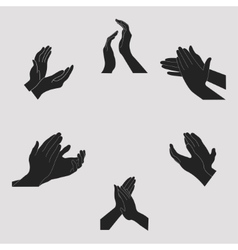 Applause set clapping hands vector image