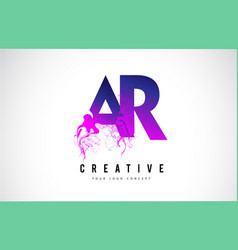 Ar a r purple letter logo design with liquid vector