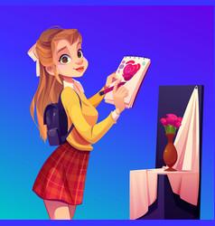artist girl paint flowers in vase workshop studio vector image