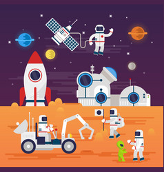 Astronauts characters set in flat cartoon style vector