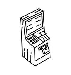 Atm icon doodle hand drawn or outline icon style vector