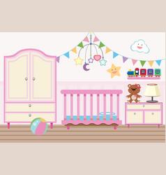Baroom with crib and closet vector