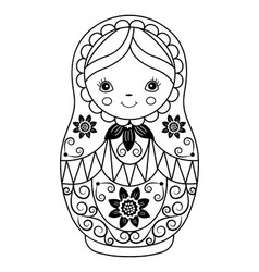 Black and White Matryoshka vector