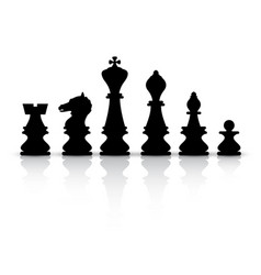 black chess pieces isolated on white background vector image