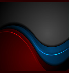 blue and red abstract glowing waves on black vector image