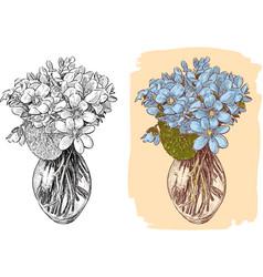 Bouquet of violets vector
