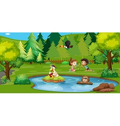 Boy and girl playing by the pond vector image vector image