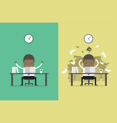 businessman finish working and busy businessman vector image