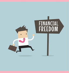 Businessman with financial freedom sign vector
