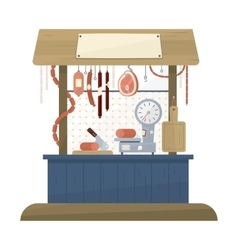 Butchers Shop Flat Design Icon vector image