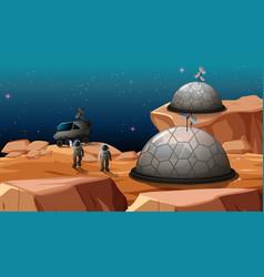 Camp in space scene vector