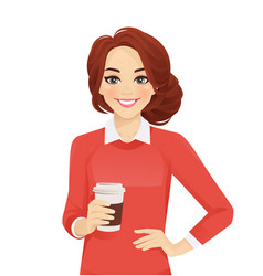 casual business woman with coffee cup vector image