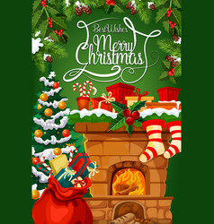 Christmas fireplace gift stocking greeting card vector