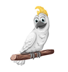Cockatoo alba bird parrot character symbol of vector