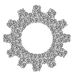 Cog mosaic of ear icons vector