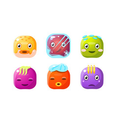 collection cute buttons colorful cubes vector image