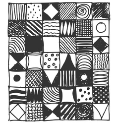 collection of hand drawn doodle square pattern vector image