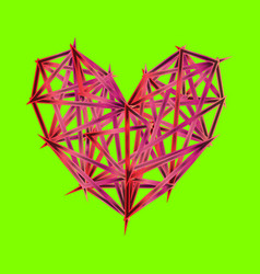 colorful polygon heart icon on ufo green vector image
