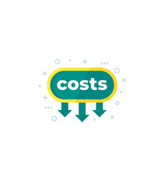 Costs down reduce icon vector