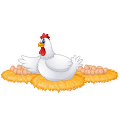 cute cartoon hen with many eggs in the her nest vector image