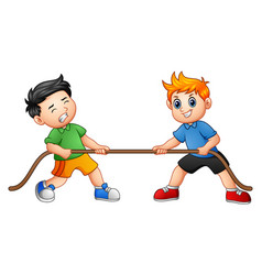 Cute children playing tug of war vector