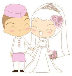 cute couple islamic vector image