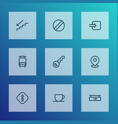 Direction icons line style set with train key vector
