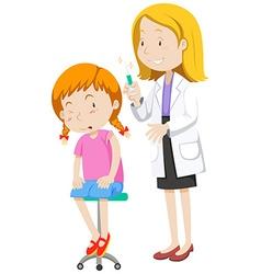 Doctor healing little girl vector image
