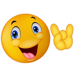 Emoticon smiley giving hand sign vector image