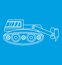 Excavator with hydraulic hammer icon outline vector
