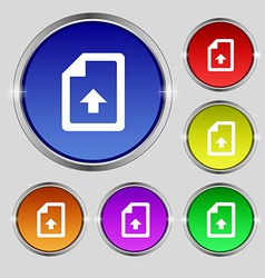 Export upload file icon sign round symbol on vector