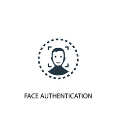 Face authentication icon simple element vector