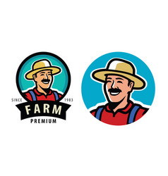 farmer with hat symbol farm agriculture vector image