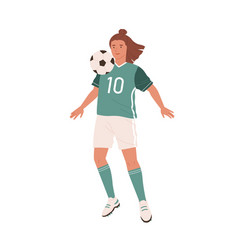 female football player hitting ball with chest vector image