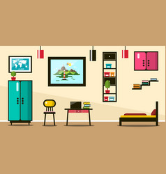 flat design room working space with bed vector image