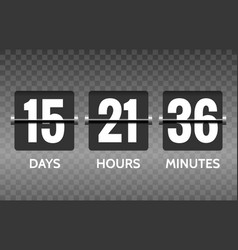 Flip countdown timer numbers on transparent vector