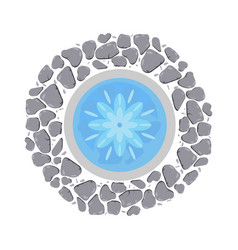Fountain with flowing water top view vector