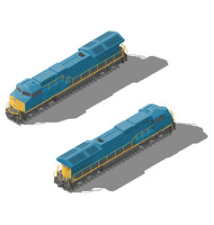freight diesel locomotive isometric low poly icon vector image