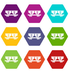 Freight railroad car icon set color hexahedron vector